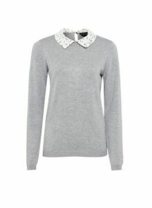 Womens Grey Spot Print Collar Jumper, Grey