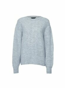 Womens Grey Cable Batwing Jumper, Grey