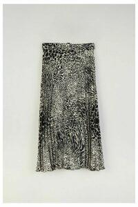 Womens Warehouse Mono Animal Pleated Midi Skirt -  Black