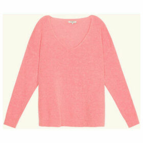 Frnch  V-neck long-sleeved knit sweater NAGETE  women's Sweater in Pink