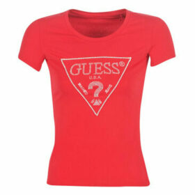 Guess  SS RN SPARKLE TEE  women's T shirt in Red