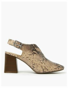 M&S Collection Animal Print Block Heel Slingback Shoes