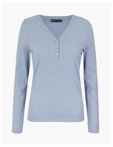 M&S Collection Ribbed Henley Long Sleeve Top