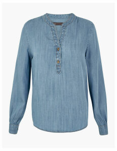 M&S Collection Tencel  V-Neck Popover Blouse