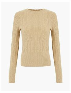 M&S Collection Soft Touch Cable Knit Round Neck Jumper