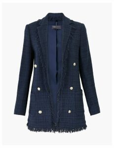 M&S Collection Cotton Blend Longline Tweed Blazer