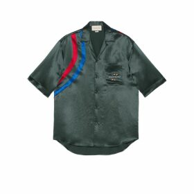 Acetate oversize bowling shirt with Gucci Band