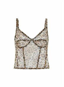 Leopard print sleeveless corset cami top