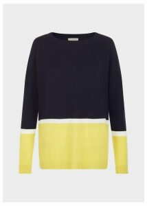 Sofia Wool Blend Stripe Sweater Navy Yellow