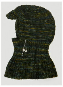 Mass Embellished Merino Wool Balaclava in Green size One Size