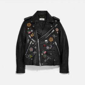 Coach Embellished Moto Jacket
