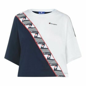 Champion Tape Crop T Shirt - NVB/WHT BS538