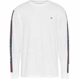 Tommy Jeans Long Sleeve Tape T Shirt - White