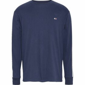 Tommy Jeans Long Sleeve Tape T Shirt - Twilight Navy