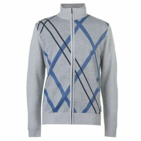 Pierre Cardin Full Zip Argyle Knit Mens - Silver