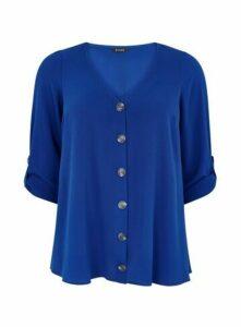 Blue V-Neck Button Shirt, Mid Blue