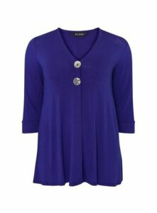 Blue Button Detail Top, Cobalt