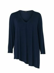 Navy Blue Asymmetric Hem Top, Navy