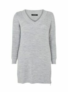 Grey V-Neck Zip Hem Tunic Jumper, Grey