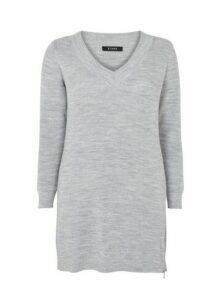 Grey V-Neck Zip Hem Tunic Jumper, Grey