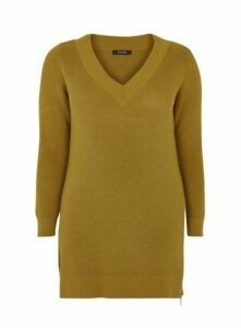 Yellow V-Neck Zip Hem Tunic Jumper, Yellow