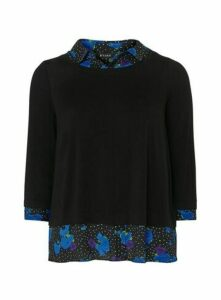 Blue Floral 2 In 1 Top, Black