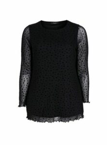 Black Star Print Mesh Top, Black