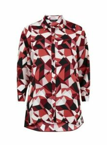 Red Geometric Print Shirt, Berry