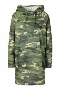 Womens Camo Print Hooded Sweat Dress - green - 16, Green