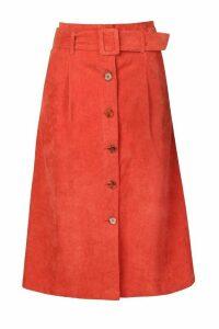 Womens Self Fabric Belt Cord Midi Skirt - Orange - 14, Orange