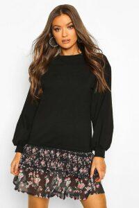 Womens Drop Hem Ditsy Floral Layered Sweatshirt Dress - black - 16, Black