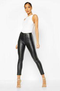 Womens Coated Super Stretch Skinny Highwaist Trousers - Black - 16, Black