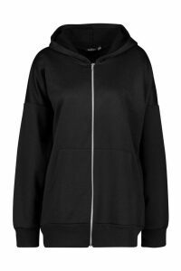 Womens Basic Oversized Zip Through Hoodie - black - 8, Black