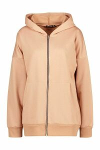 Womens Basic Oversized Zip Through Hoodie - Beige - 14, Beige
