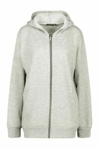 Womens Basic Oversized Zip Through Hoodie - Grey - 14, Grey