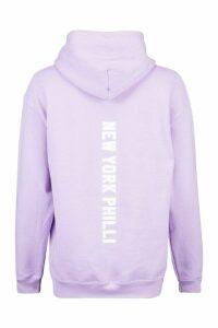 Womens Extreme Oversized New York Philli Slogan Hoody - purple - L, Purple
