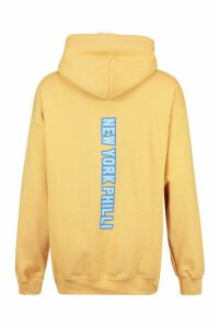 Womens Extreme Oversized New York Philli Slogan Hoody - beige - XXL, Beige
