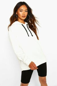 Womens Oversized Sports Fleece Hoodie - Cream - 16, Cream