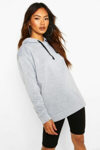 Womens Oversized Sports Fleece Hoodie - grey - 8, Grey