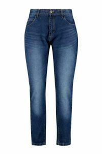 Womens Plus Fabienne High Rise Mom Jeans - blue - 28, Blue