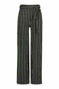 Womens PLus Wide Leg Belted Striped Trouser - black - 20, Black