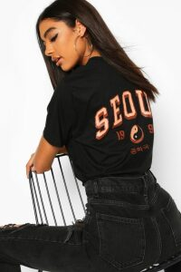 Womens Tall 'Seoul' Back Print Slogan T-Shirt - Black - Xl, Black