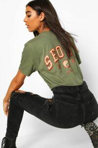 Womens Tall 'Seoul' Back Print Slogan T-Shirt - green - M, Green