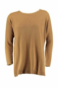 Womens Plus Side Split Moss Stitch Tunic Jumper - Beige - 24, Beige