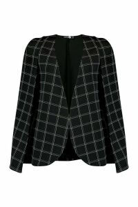 Womens Tall Check Cape Blazer - Black - 6, Black