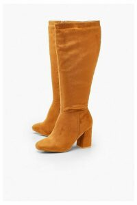 Womens Wide Fit Knee High Boots - brown - 6, Brown