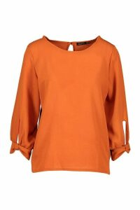 Womens Bow Sleeve Woven Blouse - orange - 12, Orange