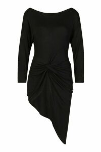 Womens Asymmetric Longline Knot Front Top - black - 12, Black