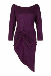 Womens Asymmetric Longline Knot Front Top - purple - 14, Purple