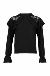 Womens Lace Detail Ruffle Blouse - black - 12, Black